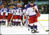 Sergei Fedorov hangs his head after Team Russia's semi-final loss to Team USA in the 2002 Olympic Winter Games.