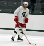 Drew Miller looks over his shoulder during a session at the 2014 MSU Pro Camp.