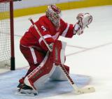 Jimmy Howard faces down a shot during pre-game warmups before a preseason game.