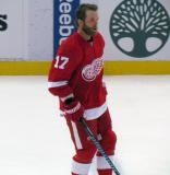 Daniel Cleary skates at the blue line during pre-game warmups before a preseason game.