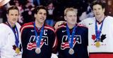 Steve Yzerman, Chris Chelios, Brett Hull and Brendan Shanahan display their Olympic medals after Canada defeated the United States in the Gold Medal Game of the 2002 Olympic Winter Games.
