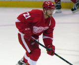 Tomas Tatar skates during pre-game warmups before a preseason game.