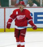 Justin Abdelkader skates during pre-game warmups before a preseason game.