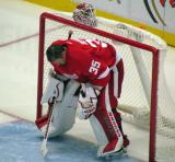 Jimmy Howard crouches in his crease prior to the singing of The Star-Spangled Banner.