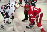 Joakim Andersson takes the opening faceoff of a preseason game against Chicago's Andrew Shaw.