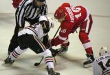 Joakim Andersson takes a faceoff against Chicago's Alex Broadhurst during a preseason game.