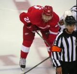 Tomas Tatar lines up at left wing for a faceoff in a preseason game.