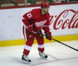 Tomas Tatar gets set for a faceoff during a preseason game.