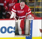 Jimmy Howard leads his team onto the ice for the start of the third period of a preseason game.