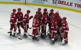 The Red Wings stream onto the ice to celebrate a preseason win over the Chicago Blackhawks.