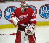 Jimmy Howard stands next to his goal during pre-game warmups.