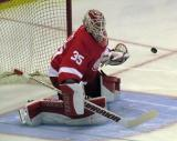 Jimmy Howard goes down to stop a shot during pre-game warmups.