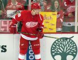 Andrej Nestrasil bounces a puck on his stick during pre-game warmups.