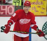 Andrej Nestrasil stands at the blue line during pre-game warmups.