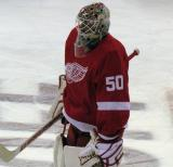 Jonas Gustavsson skates near the blue line during pre-game warmups.