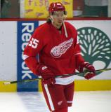 Danny DeKeyser skates at the blue line during pre-game warmups.