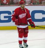 Tomas Tatar stands on the ice during pre-game warmups.