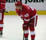 Andrej Nestrasil crouches in the neutral zone during pre-game warmups.