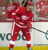Brendan Smith makes a pass during pre-game warmups.