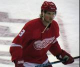 Justin Abdelkader skates near the blue line during pre-game warmups.