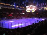 A darkened Joe Louis Arena prior to the pre-game ceremony at the Red Wings' 2014 home opener.
