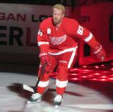Johan Franzen skates onto the ice during player introductions at the Red Wings' 2014 home opener.