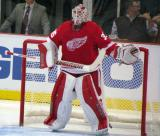 Jimmy Howard gets set in his crease at the start of the second period.