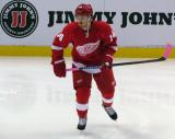 Gustav Nyquist skates away from the boards during pre-game warmups.