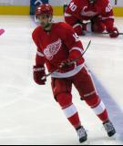 Riley Sheahan skates at the blue line during pre-game warmups.