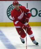 Luke Glendening skates at the blue line during pre-game warmups.