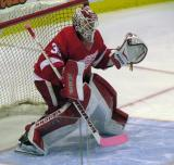 Jimmy Howard gets set in his crease during pre-game warmups.