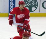 Justin Abdelkader skates at the blue line during pre-game warmups.