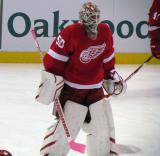 Jonas Gustavsson skates in the neutral zone during pre-game warmups.