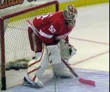 Jonas Gustavsson crouches in his crease during pre-game warmups.