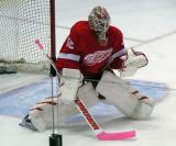 Jonas Gustavsson comes out to face a shot during pre-game warmups.