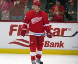 Justin Abdelkader yells something at his teammates during pre-game warmups.