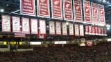 The Red Wings' Stanley Cup Championship and retired number banners, as well as those for a handful of other accomplishments, hanging at Joe Louis Arena.