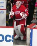 Jimmy Howard leads the Red Wings onto the ice at the start of the game.