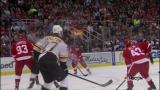 Gustav Nyquist walks in from the point and snipes a shot from the top of the faceoff circle past Boston goalie Tuukka Rask.