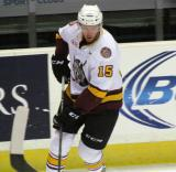 Jeremy Welsh of the Chicago Wolves skates along the boards during pre-game warmups before a game against the Grand Rapids Griffins.