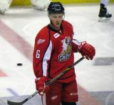 Teemu Pulkkinen stands at center ice during pre-game warmups before a Grand Rapids Griffins game.