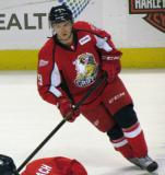Mark Zengerle skates during pre-game warmups before a Grand Rapids Griffins game.