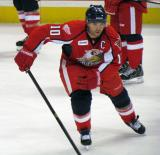 Jeff Hoggan skates in the neutral zone during pre-game warmups before a Grand Rapids Griffins game.