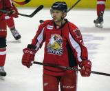 Kevin Porter stands on the ice during pre-game warmups before a Grand Rapids Griffins game.