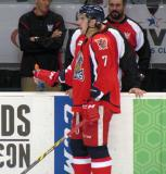 Ryan Sproul drinks some Gatorade at the bench during pre-game warmups before a Grand Rapids Griffins game.