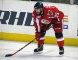 Landon Ferraro gets set for a faceoff during a Grand Rapids Griffins game.