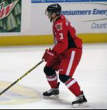 Alexey Marchenko retreats into his own zone during a Grand Rapids Griffins game.