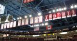 The banners for Detroit's eleven Stanley Cup championships and seven retired numbers hanging at Joe Louis Arena.