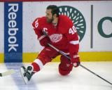 Henrik Zetterberg stretches at the boards during pre-game warmups.