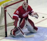 Jimmy Howard prepares to face a shot during pre-game warmups.
